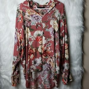 Zara Woman | Viscose Hi Low Floral Blouse Small